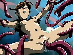 Tiny anime girl takes the pain from a big tentacle monster
