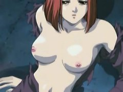Naughty anime slut strips naked and gets her tender pussy wet